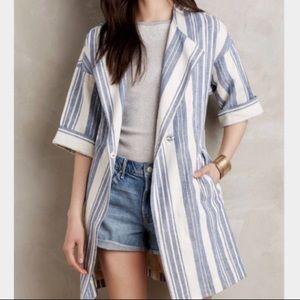 Anthropologie Elevenses Linen Stripe Trench Jacket